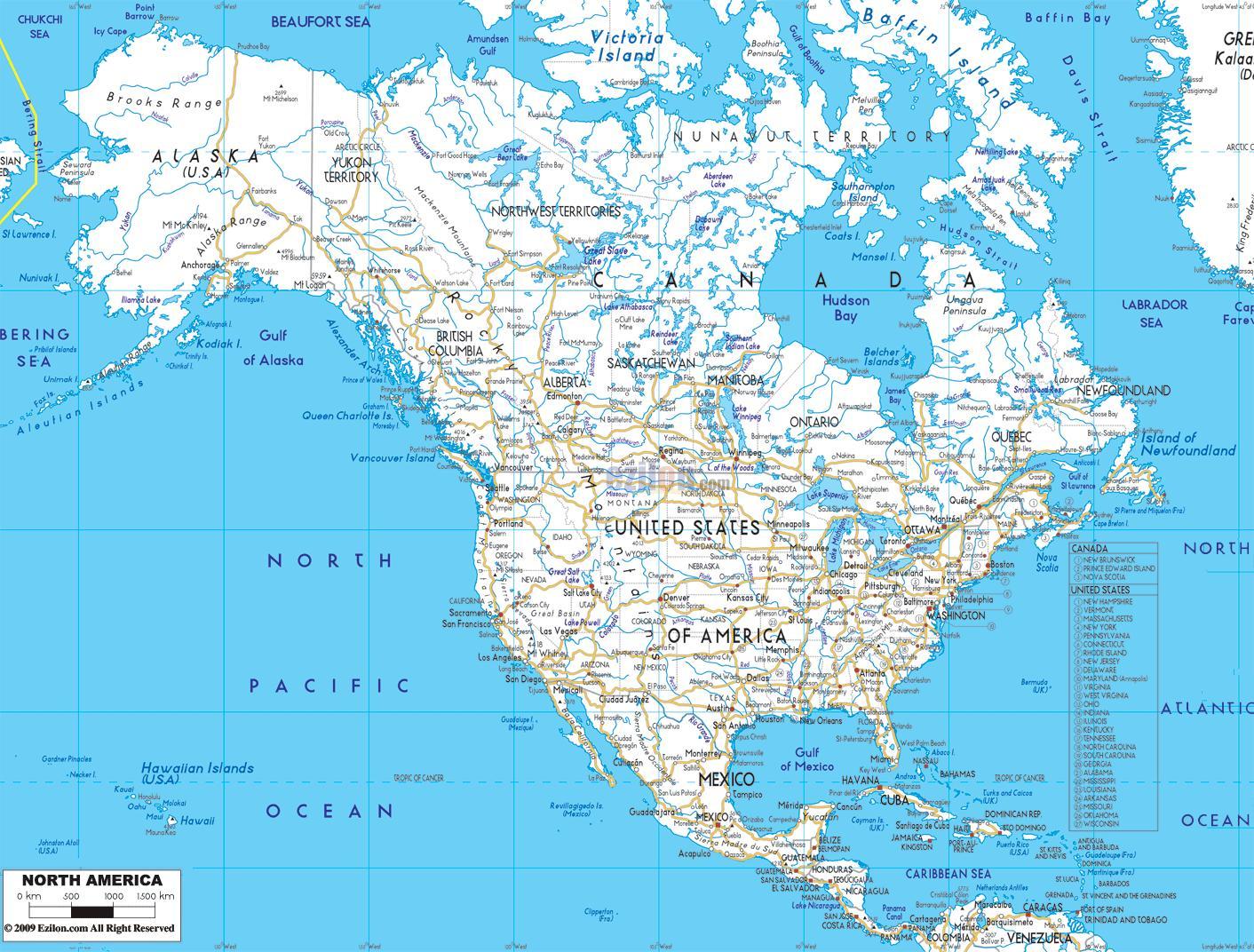 American road map - Road-Landkarte Amerika (Nord-Amerika ...