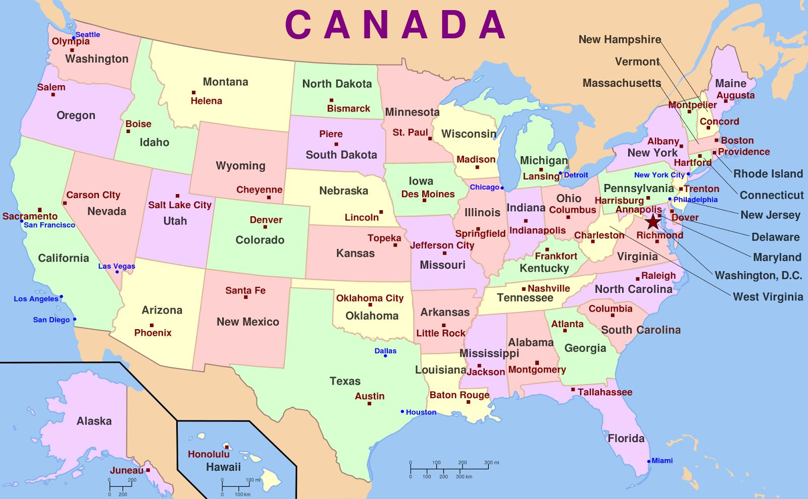 Die Karte von Amerika - USA State names, map (Nord-Amerika ...