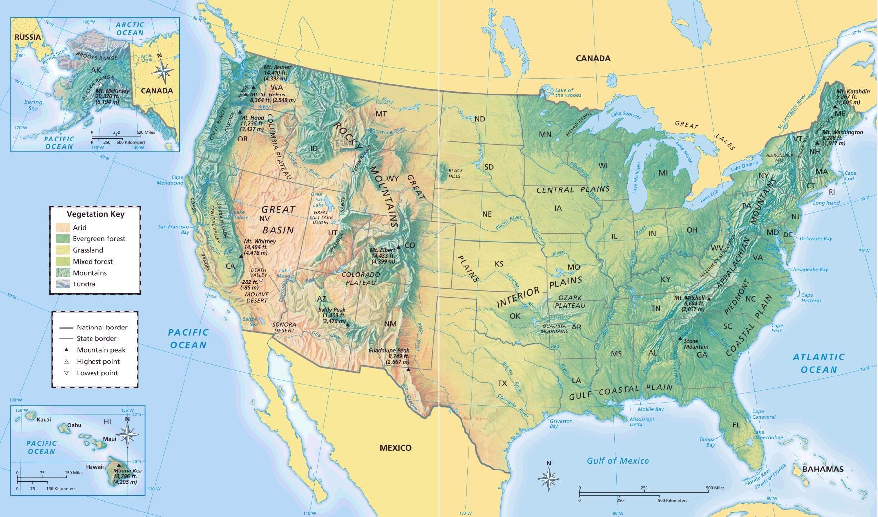 Geographische Karte Von Uns Geographische Landkarte Usa