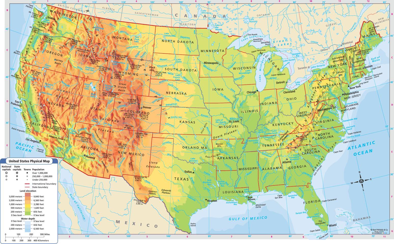 Geographische Karte Der Usa Landkarte Von Den Vereinigten Staaten