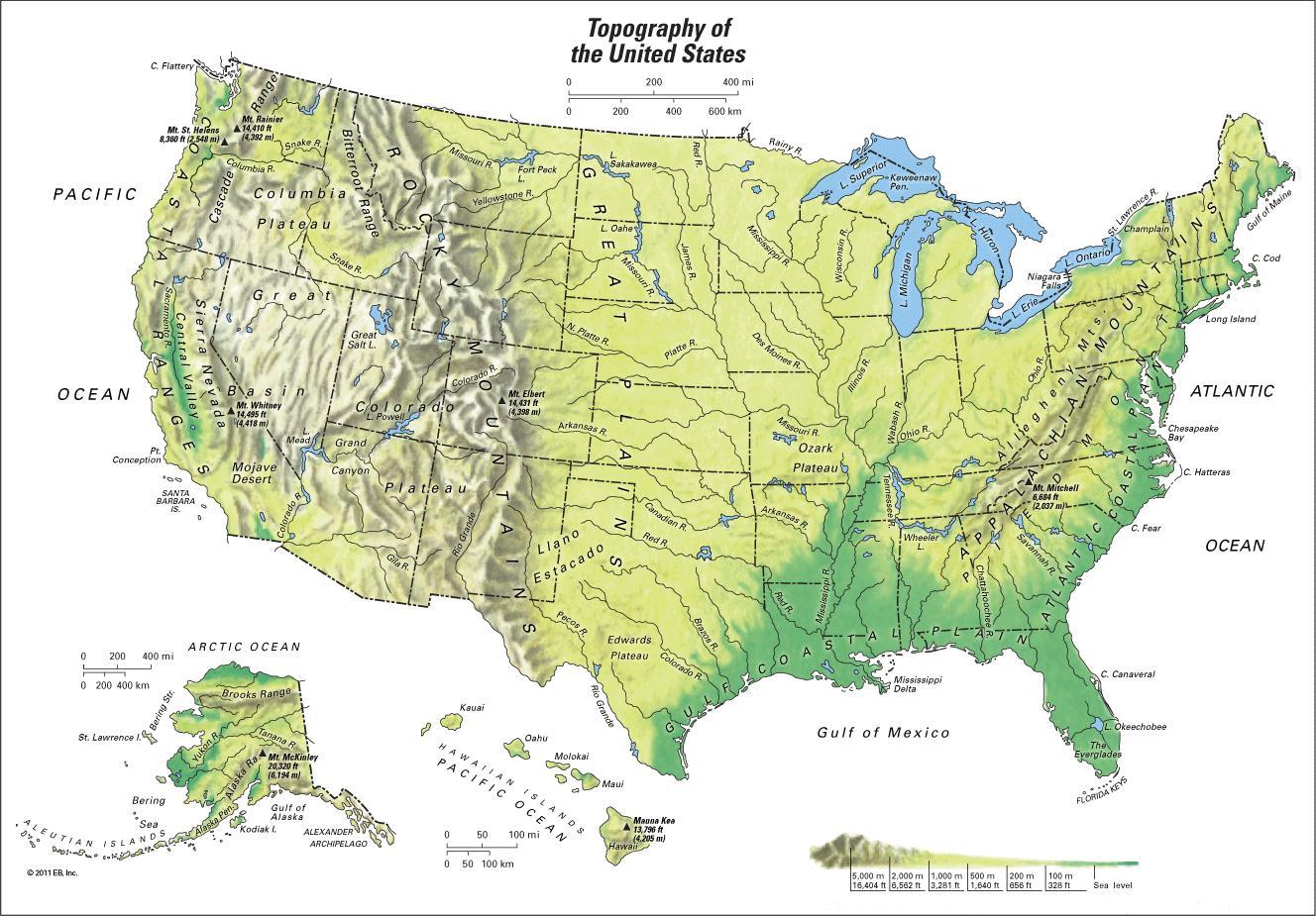 Karte Der Gebirge In Us Bergketten Us Karte Nordamerika Und