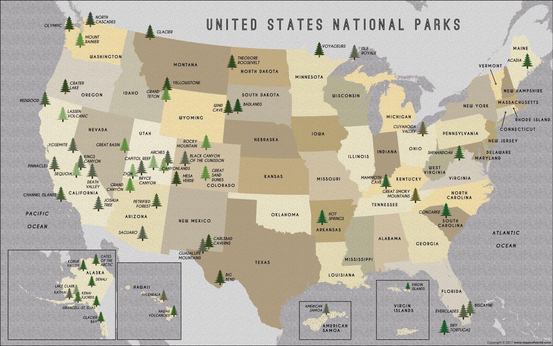 Karte Der Us Nationalparks National Parks Usa Karte Nordamerika