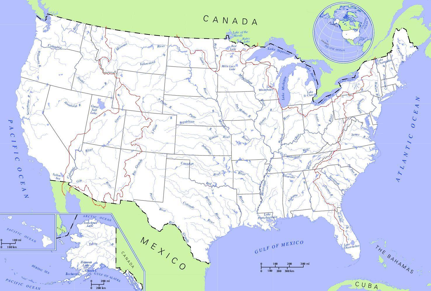 Karte Der Usa Flusse Fluss Landkarte Der Usa Nordamerika Und
