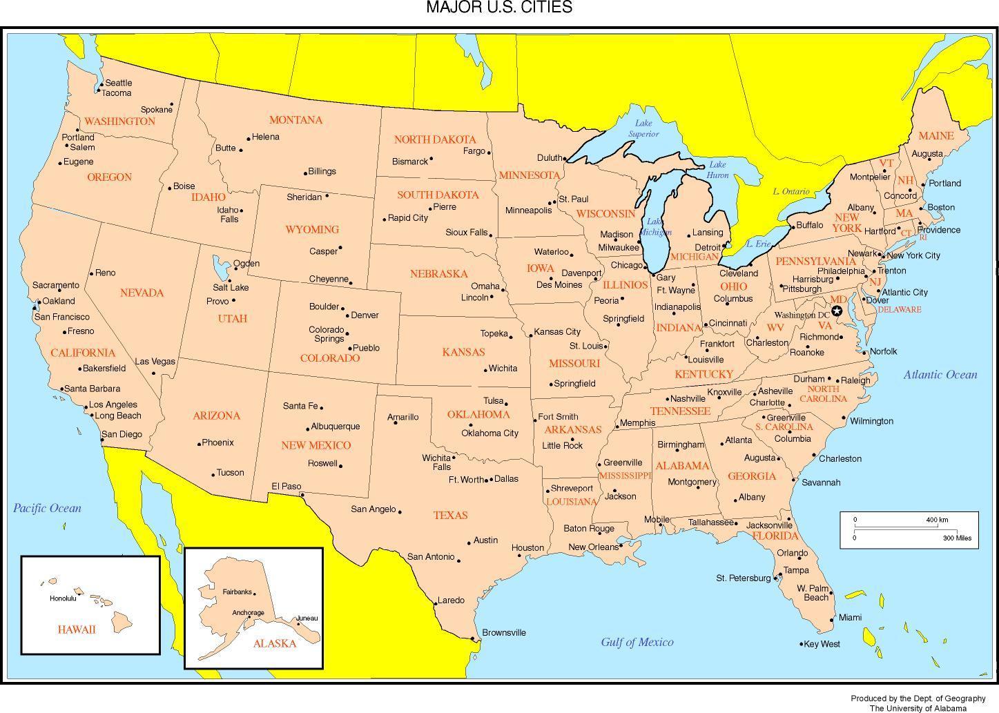 Karte Der Usa Zeigt Die Stadte Karte Der Usa Zeigen Den Grossen