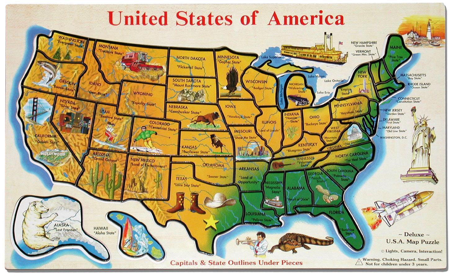 Amerika Karte Staaten.Karte Der Vereinigten Staaten Fur Kinder Vereinigte