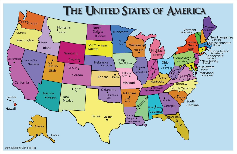 Usa Staaten Karte Mit Hauptstädten.Karte Der Vereinigten Staaten Mit Hauptstädten Us Staaten Und