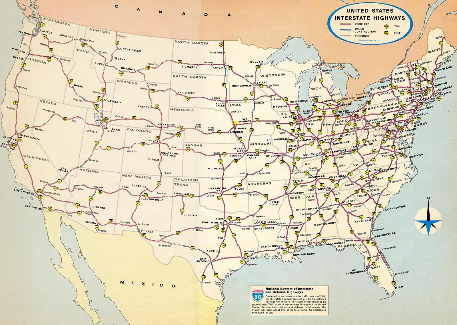 Karte von USA mit Landstraßen - Karte von Vereinigte Staaten ...