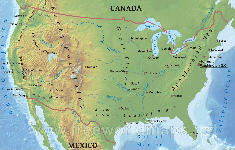Karte Von Usa Mit Gebirge Und Flusse Karte Der Usa Mit Flussen