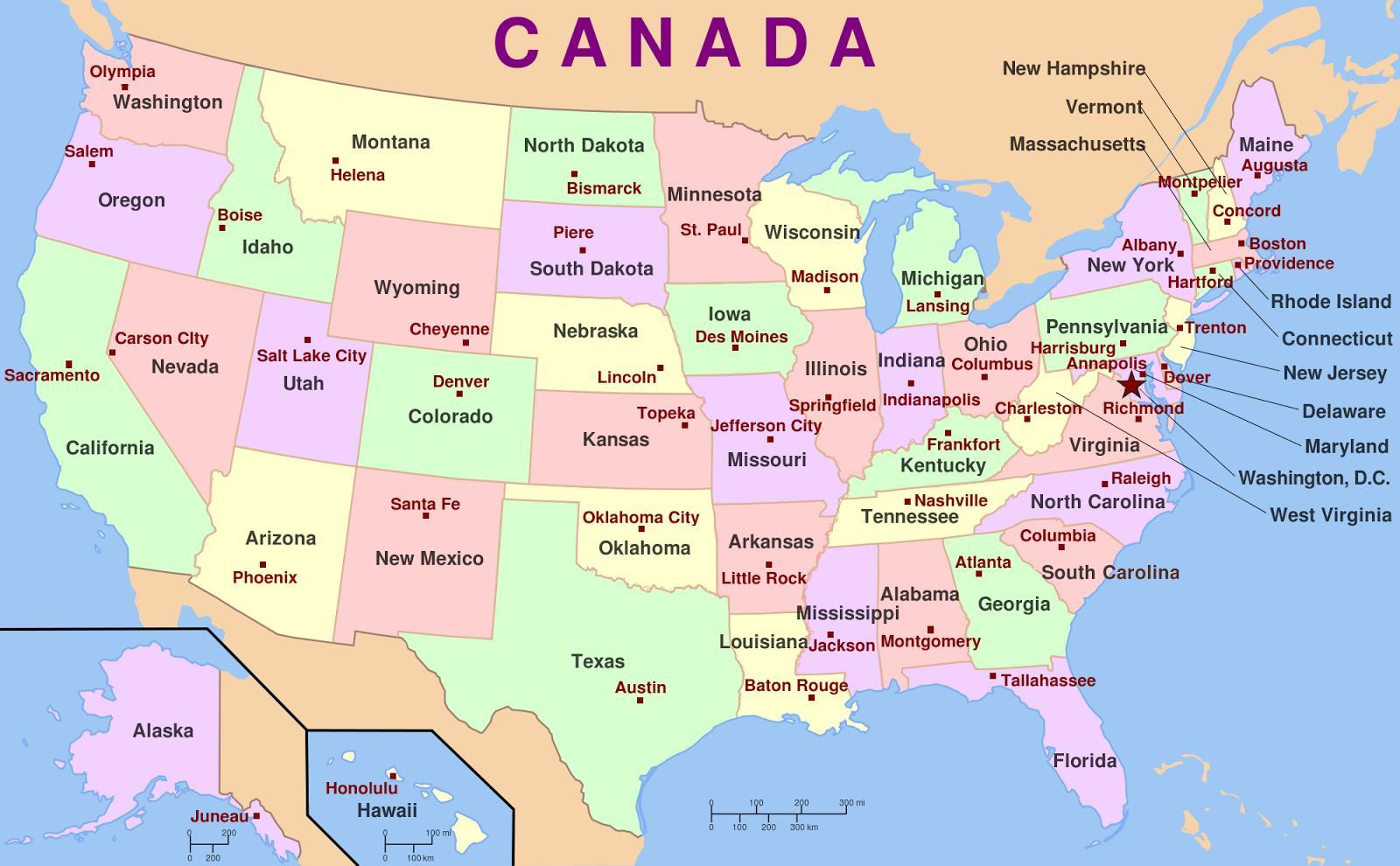 Karte Von Usa Staaten Und Hauptstadte Usa Staaten Und