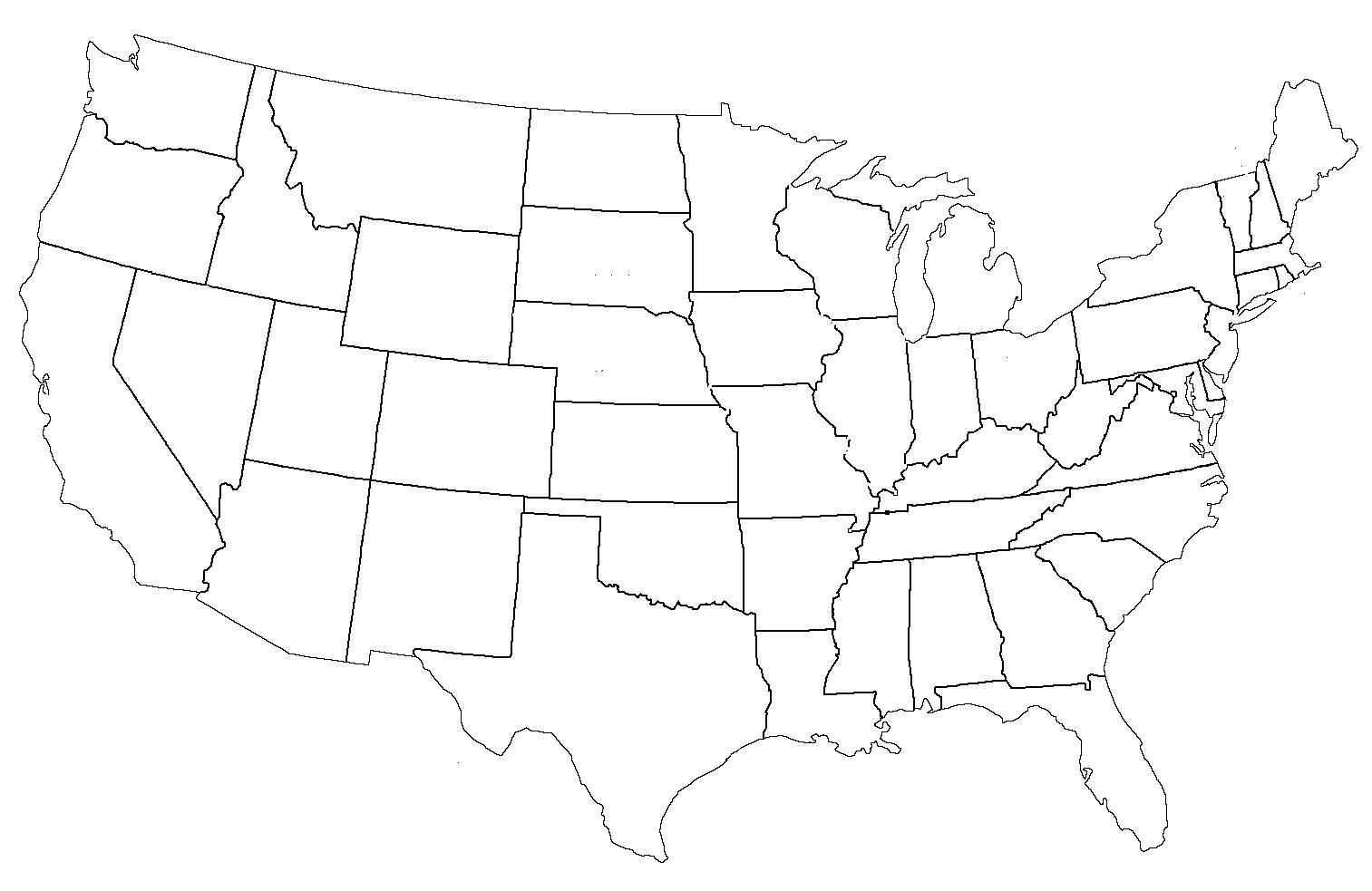 Leere Karte Von Us Staaten Staaten Der Usa Leere Karte