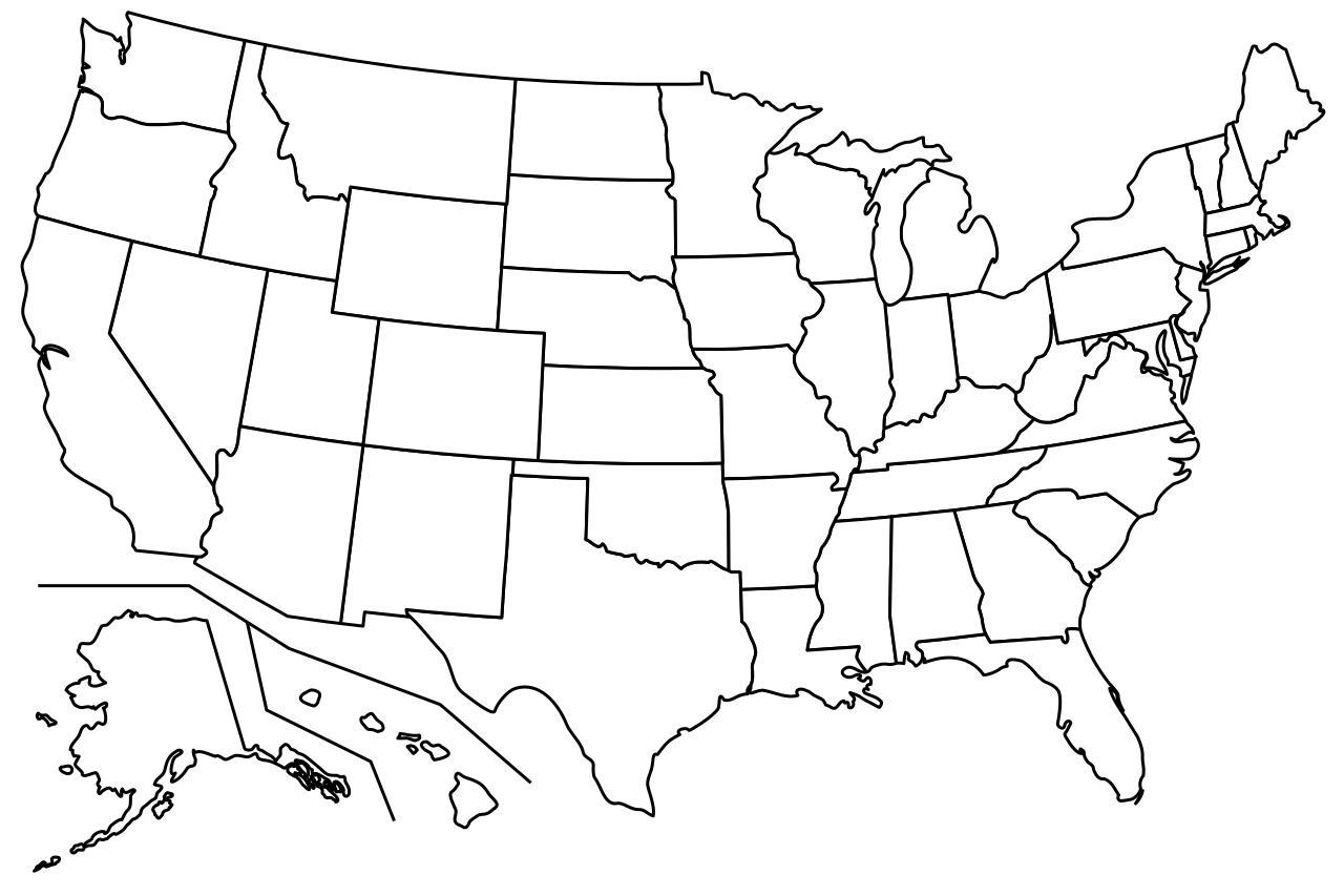 Leere Karte Von Usa Staaten Leere Karte Der Usa Mit Den Staaten