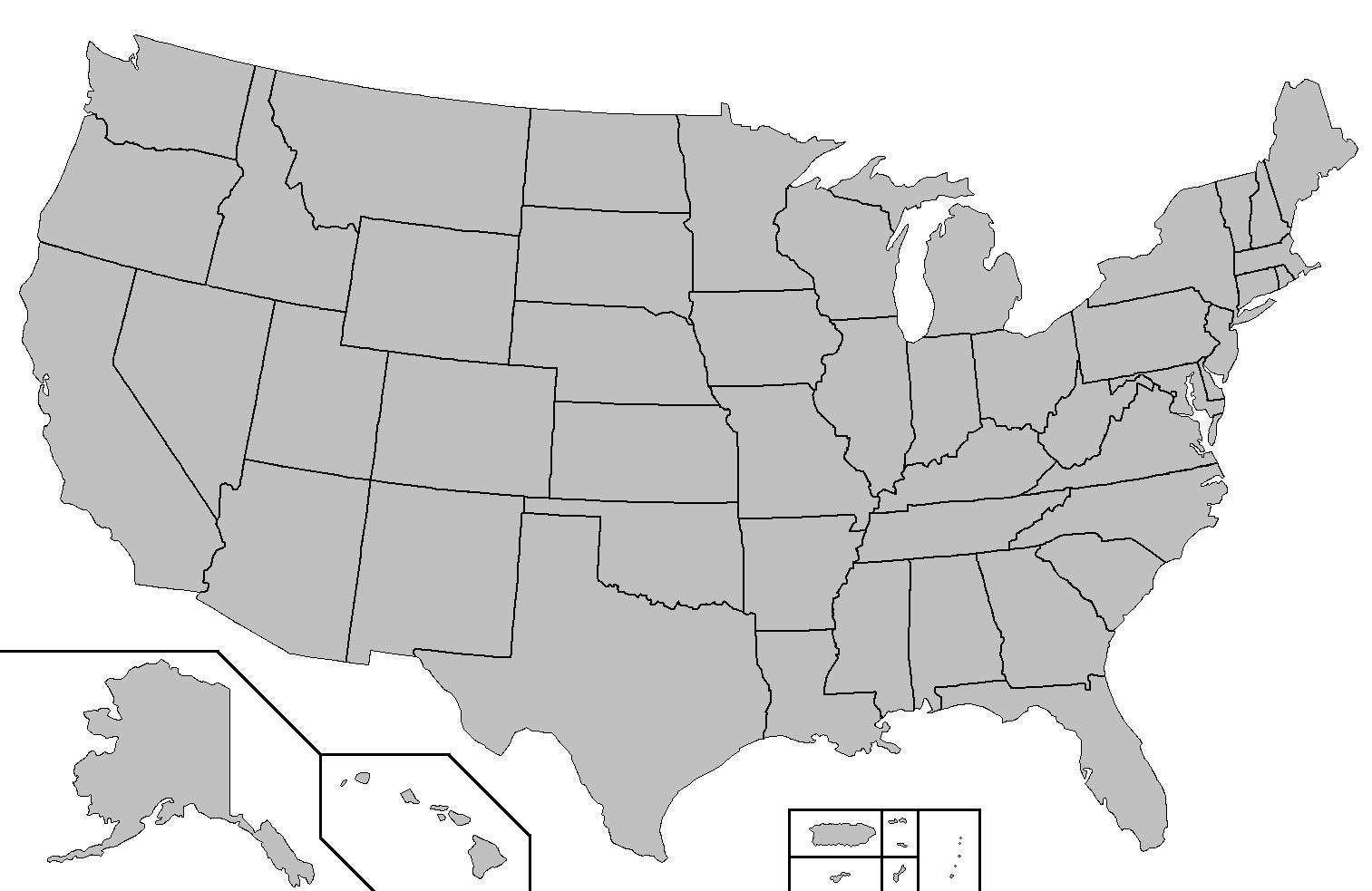 Leere Us State Map Us State Map Leer Nord Amerika Amerika