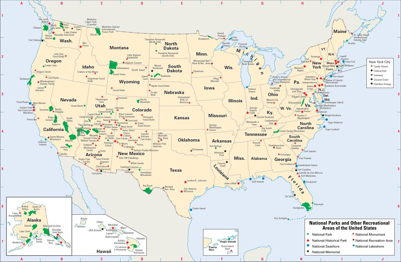 Map-national parks USA - Karte von USA mit Nationalparks ...