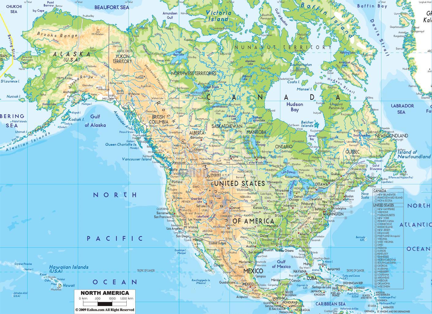 Physische Karte Usa.Physikalische Karte Von Amerika Nordamerika Physische