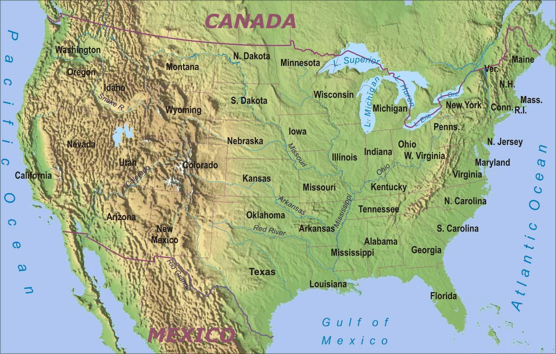 Physische Karte Der Usa Landkarte Von Vereinigte Staaten