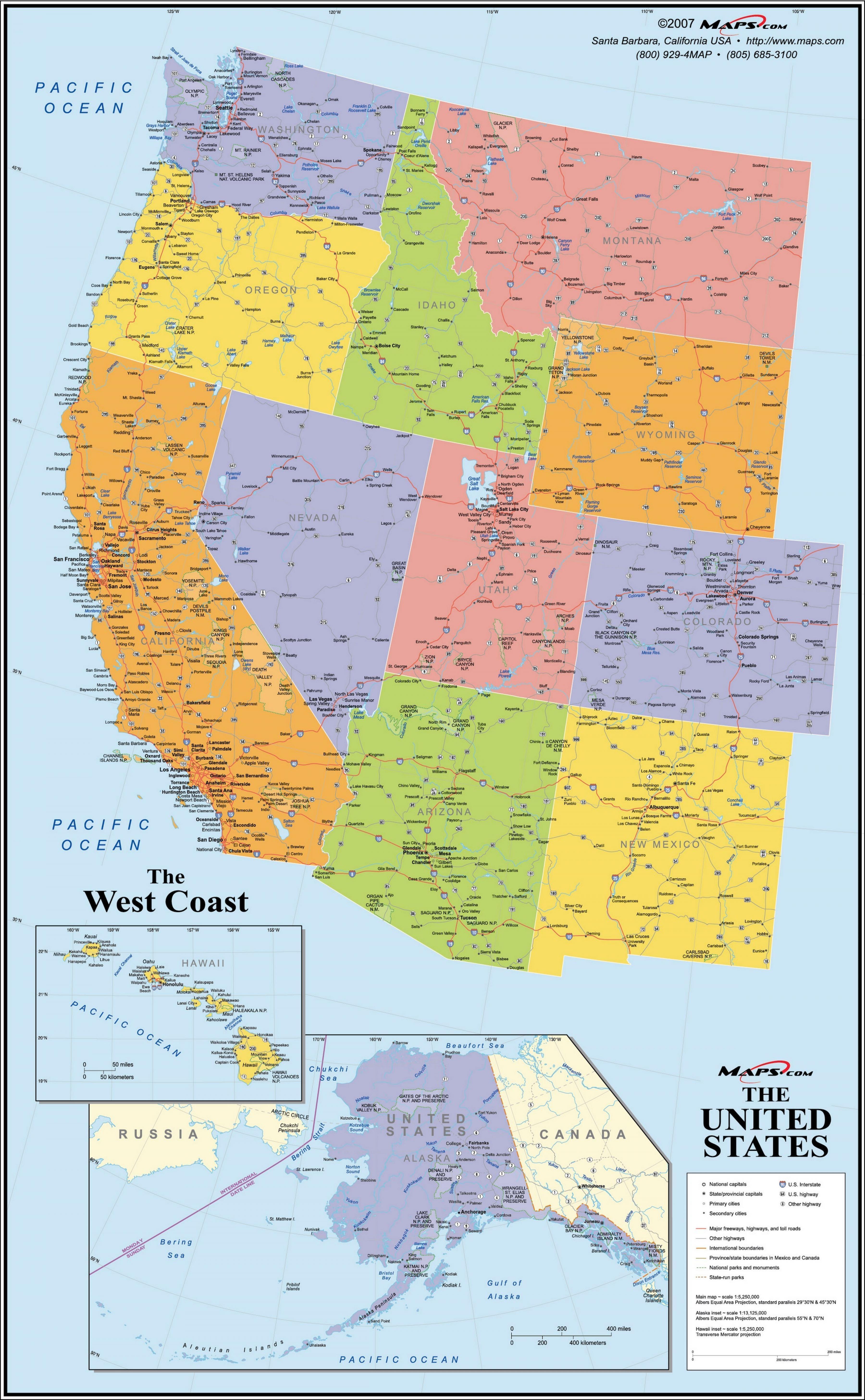 Road map western USA - Road-Landkarte der westlichen USA ...