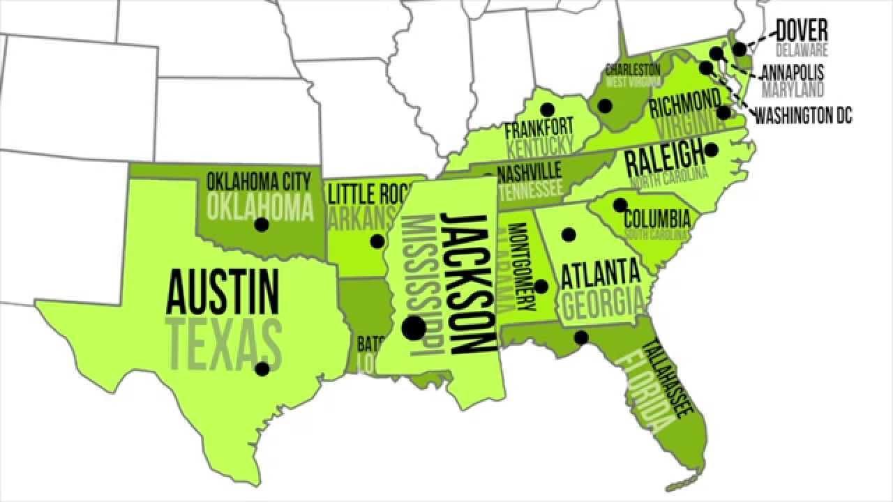 Süd-USA region-Karte - Map von Süd-USA-region (Nord-Amerika ...