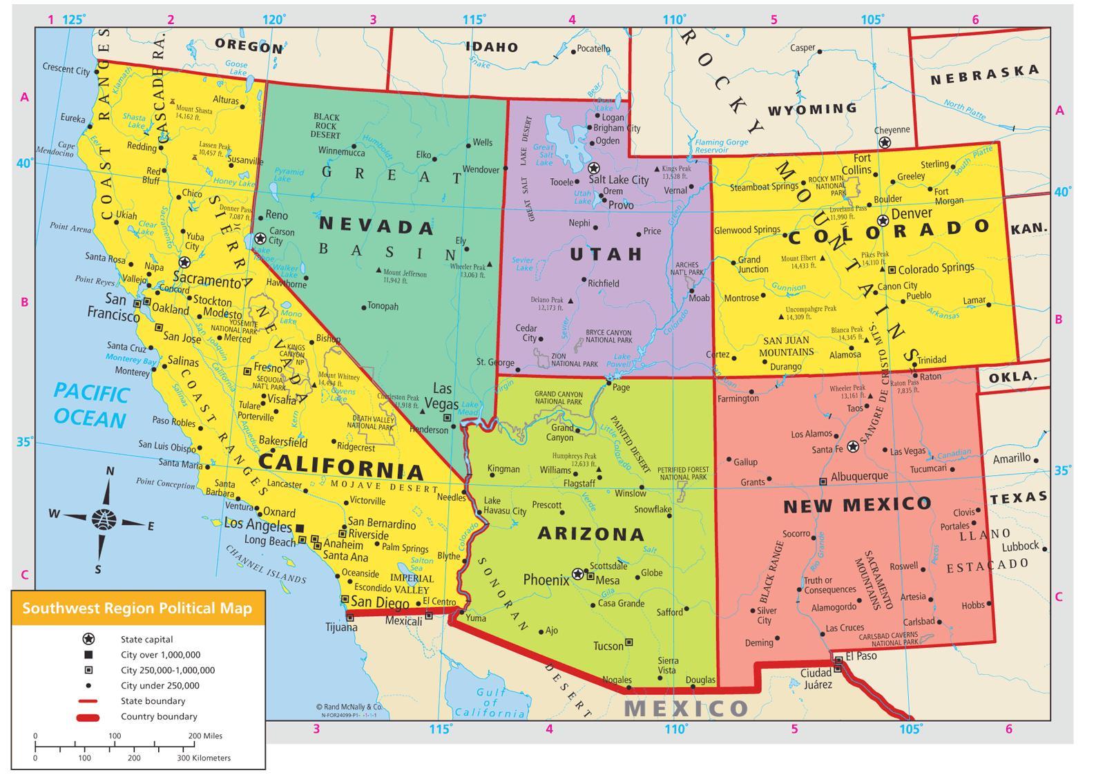 Karte Usa Westen.Südwesten Der Usa Map South West Usa Karte Nordamerika Und