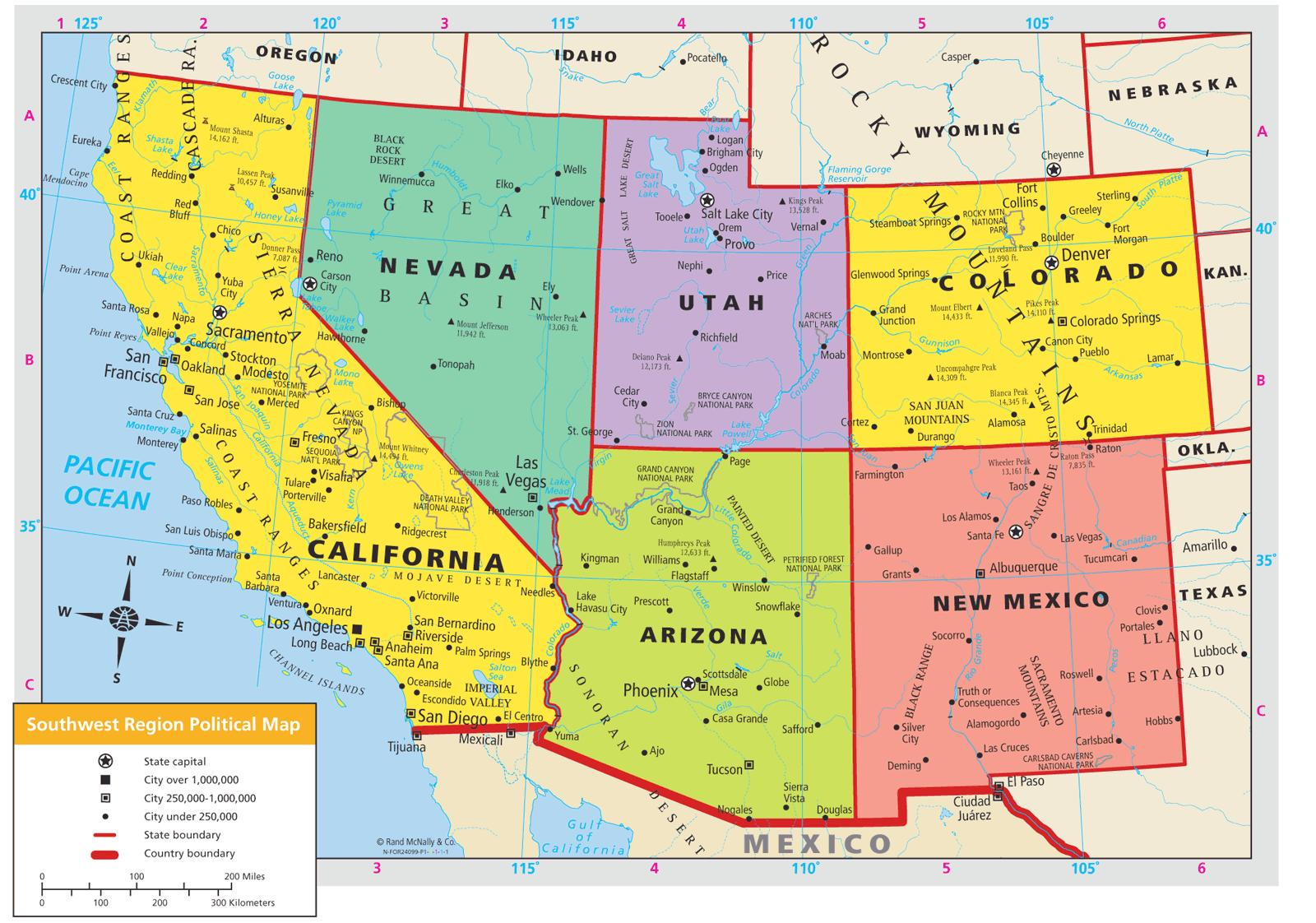 Südwesten der USA-map - South-west-USA Karte (Nordamerika ...