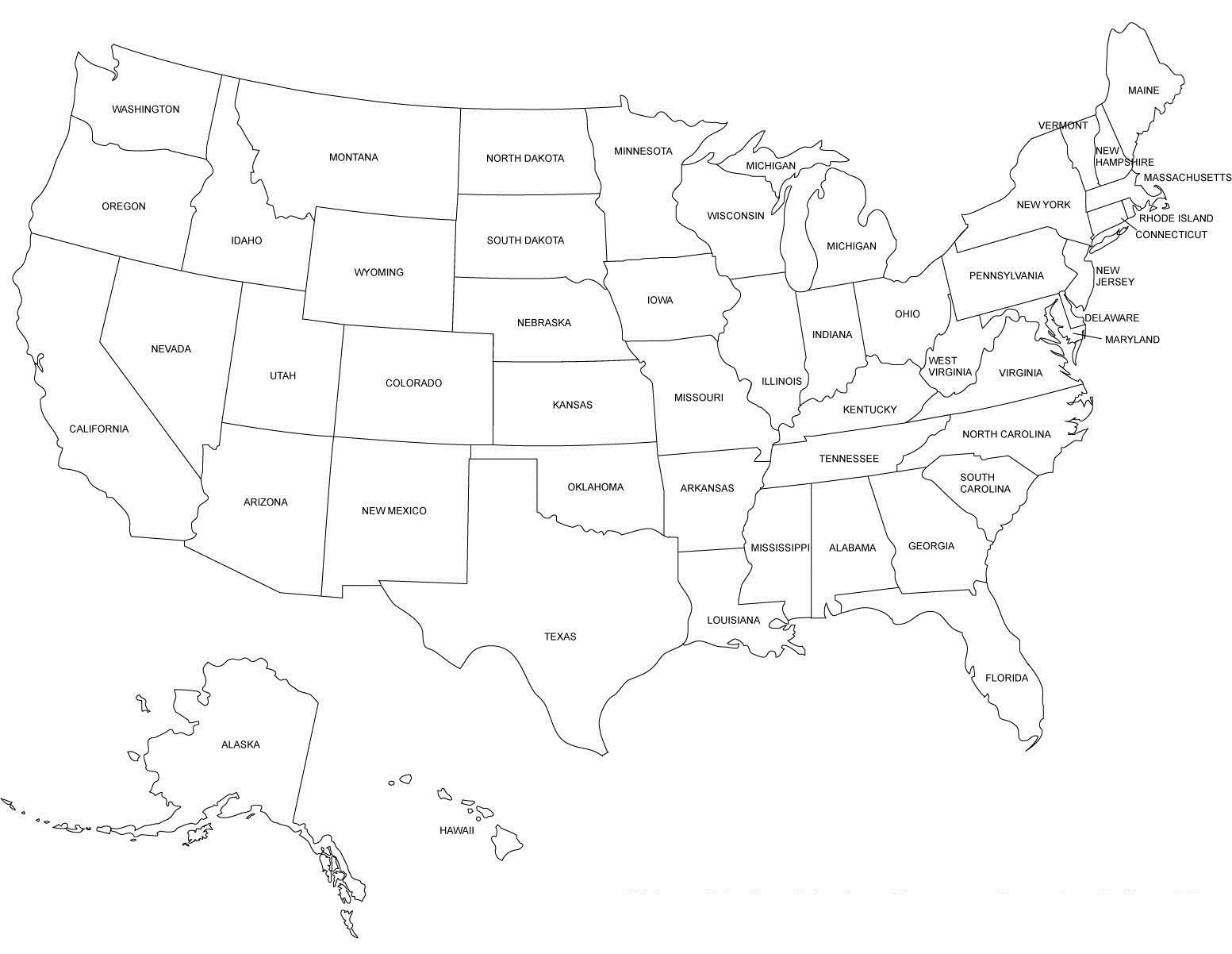 Usa Karte Schwarz Weiß