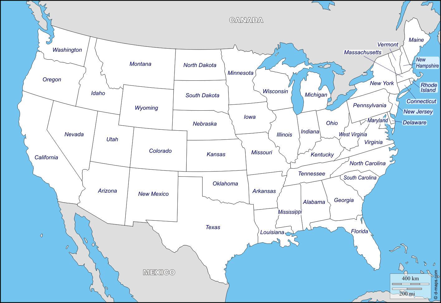 Staaten Der Usa Karte Leere Karte Der Usa Nordamerika Und