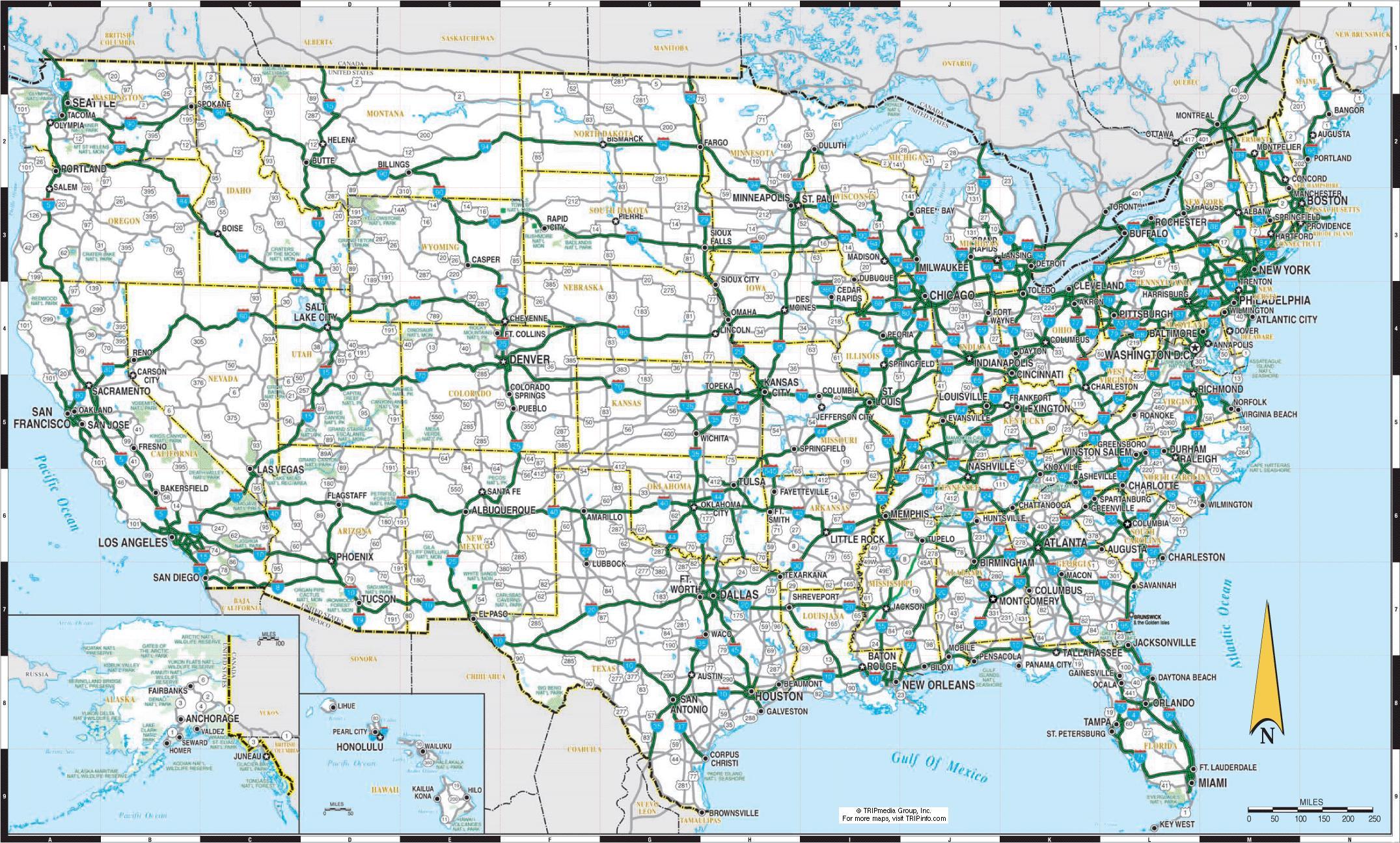 Straßenkarte von US-highways - US highway road map (Nord ...