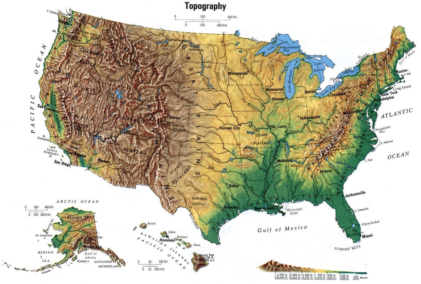 Topographische Karte Der Vereinigten Staaten Topographische