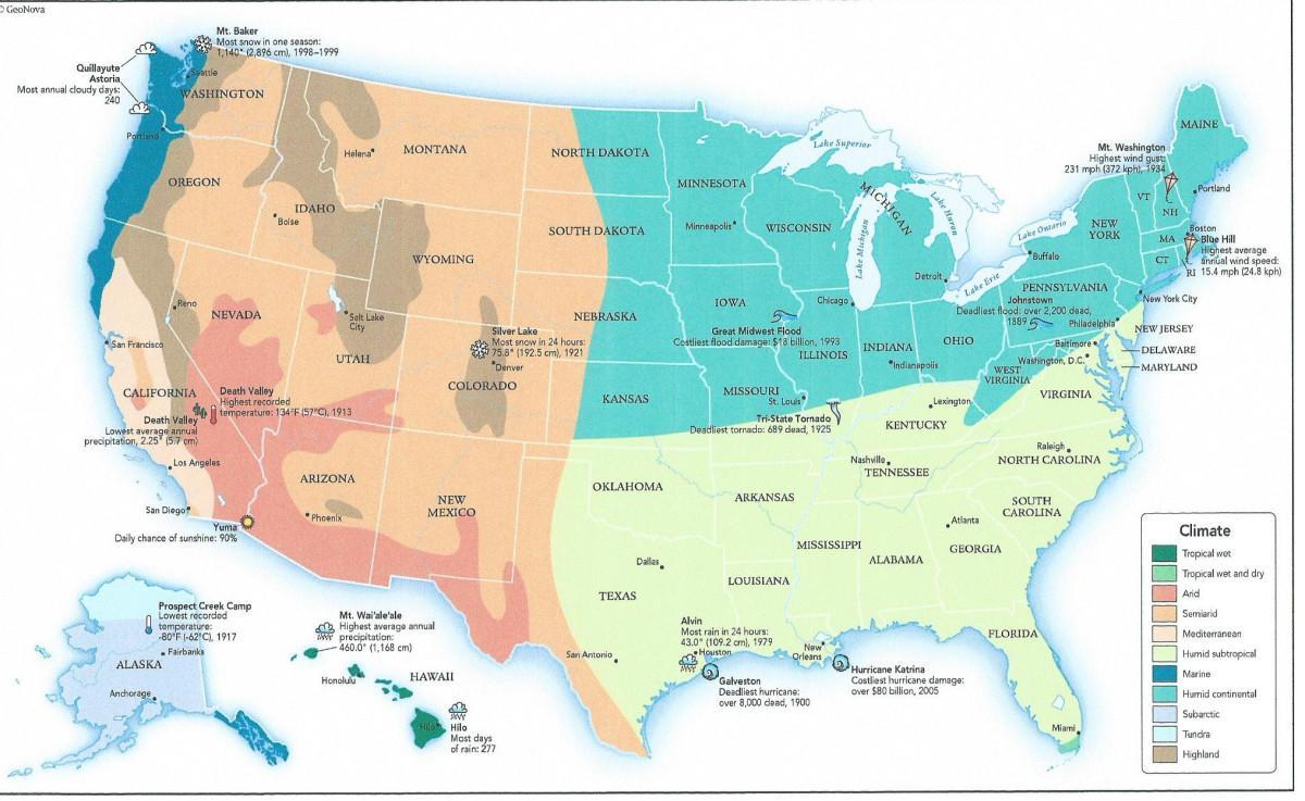 UNS Klimazone Karte - Karte von UNS Klimazonen (Nordamerika ...