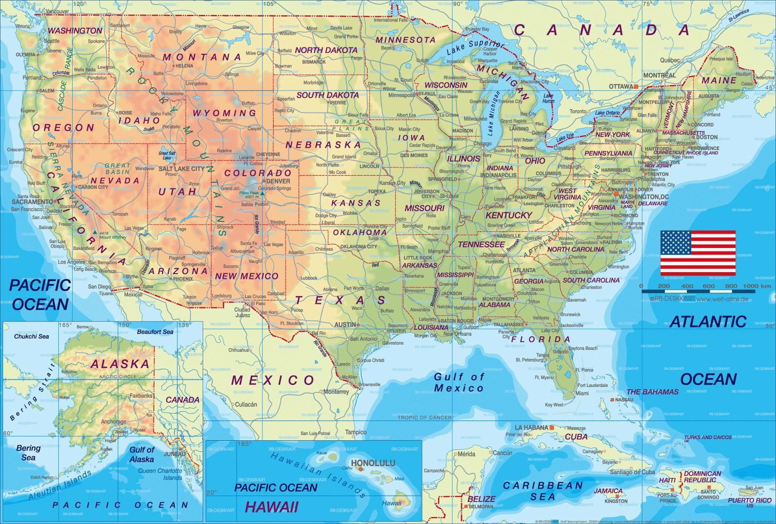 US-roadmap - Fahrplan aus den USA (Nordamerika - und Südamerika)