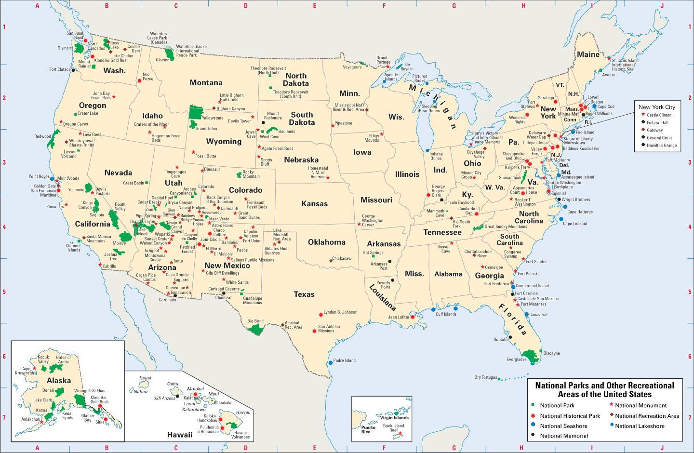 US national parks map - US-Karte von national parks (Nord ...