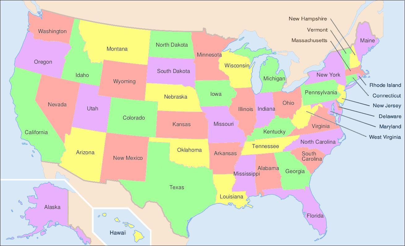 US State map - State-Karte von UNS (Nord-Amerika - Amerika)