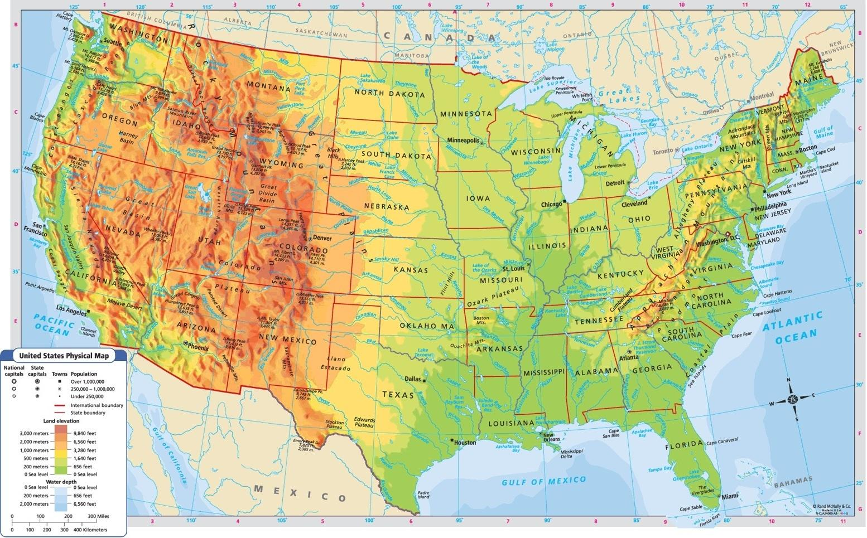 Karte Südamerika Und Nordamerika.Usa Gebirge Karte Berge Karte Der Usa Nordamerika Und Südamerika