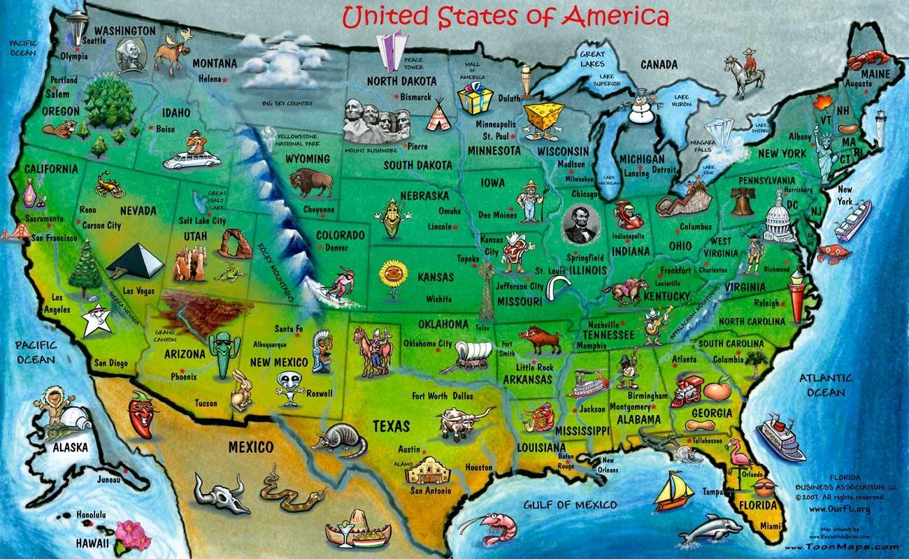 USA tourist map - Touristische Landkarte der USA ...