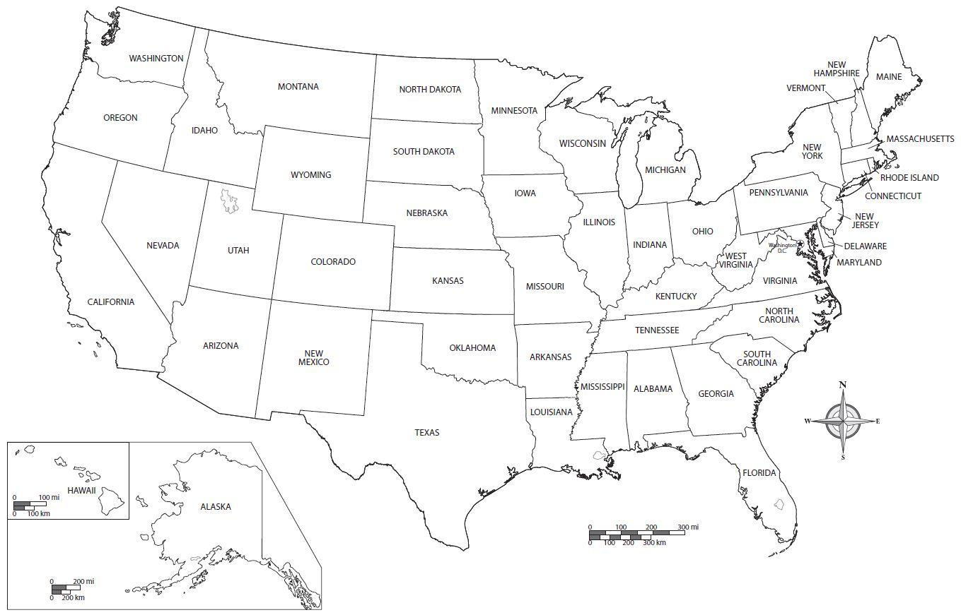 Vereinigte Staaten-map-Arbeitsblatt - Arbeitsblatt-Karte der ...