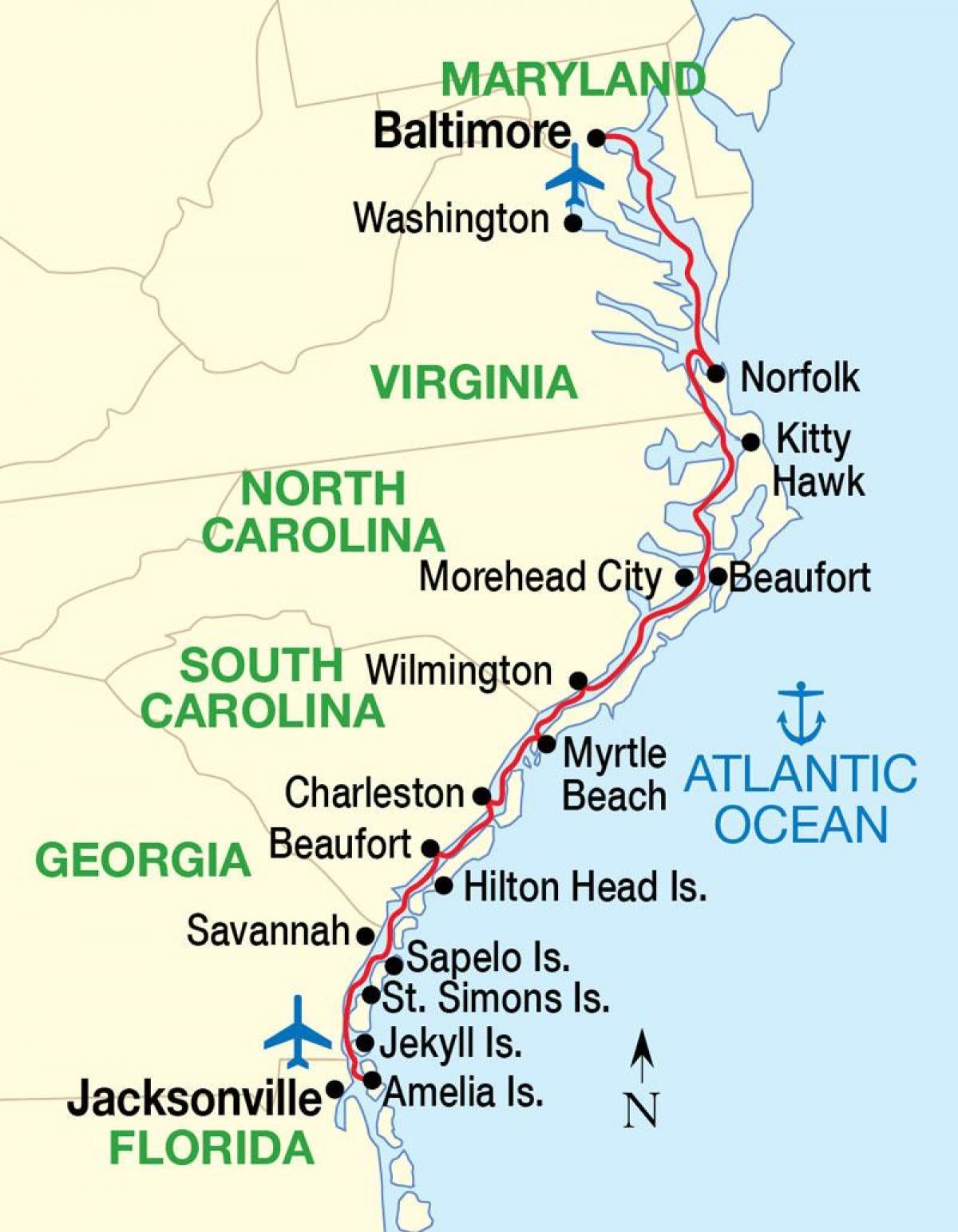 Karte Von Florida Westkuste.Karte Der Usa Ostkuste Strande Karte Der Us Ostkuste