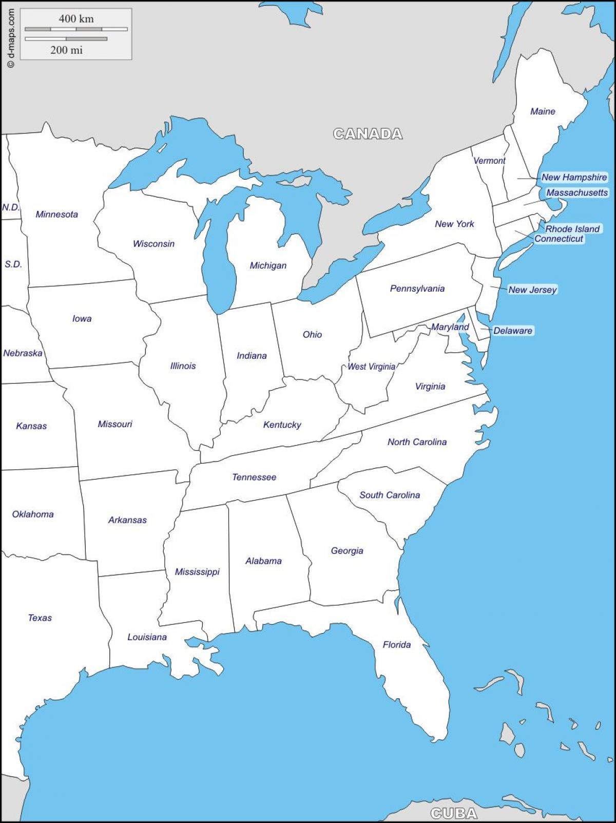 Karte Von Florida Westkuste.Ostkuste Staaten Map Karte Von East Coast Staaten