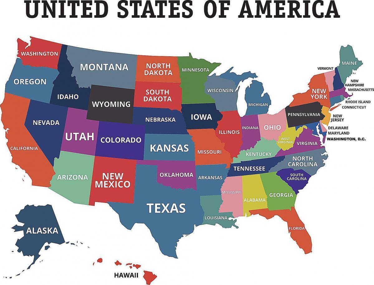 Us 50 Staaten Map Us Karte 50 Staaten Nordamerika Und Sudamerika