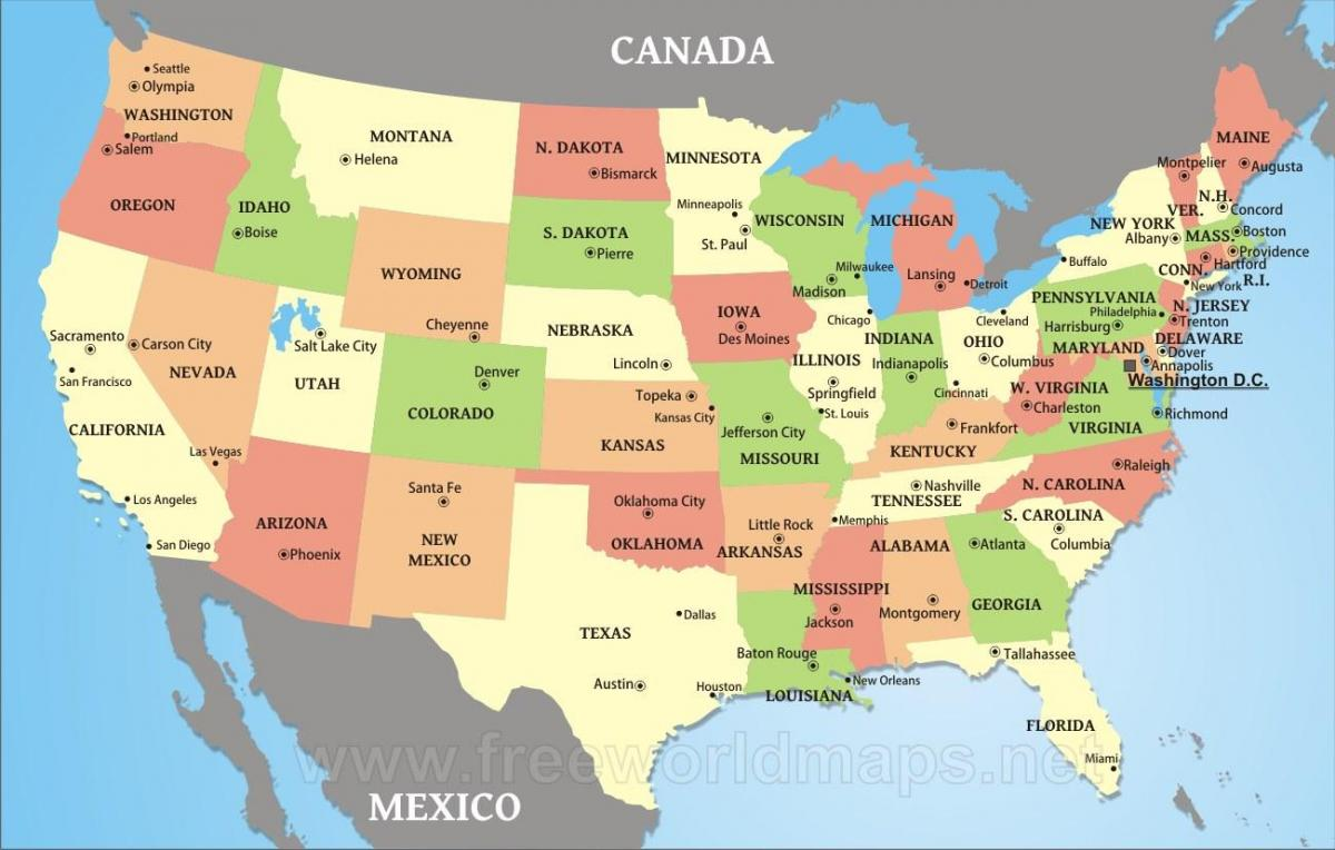 Amerika Karte Staaten.Us Karte Mit Staaten Und Stadte Us Karte Staaten Und