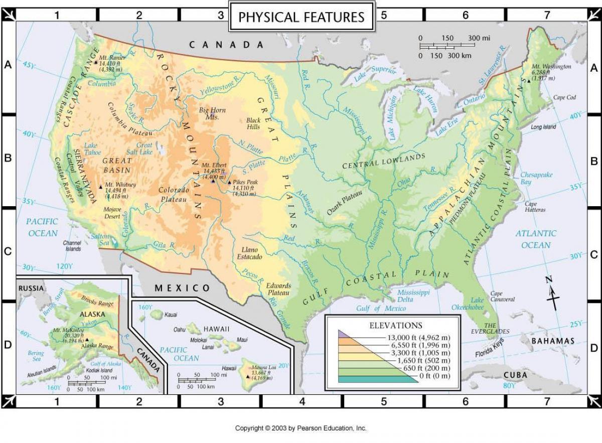 Physische Karte Usa.Usa Physische Karte Physikalische Us Karte Nordamerika