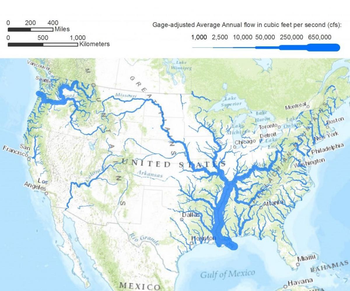 Karte Der Usa Flusse Us Karte Von Flussen Nord Amerika Amerika