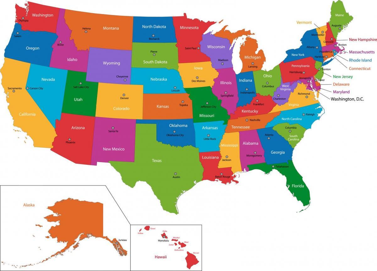 Usa Karte Mit Staaten Und Hauptstadte Karte Der Usa Mit Staaten