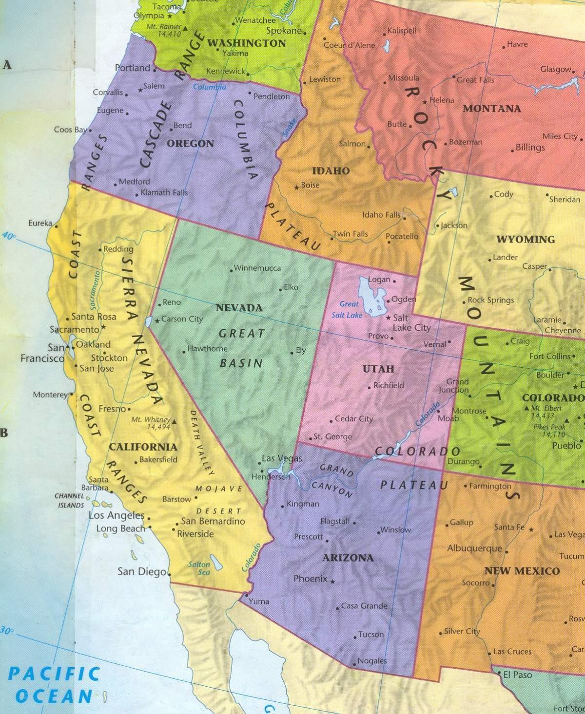 Karte Usa Westen.West Us Karte Westen Der Karte Der Usa Nordamerika Und Südamerika